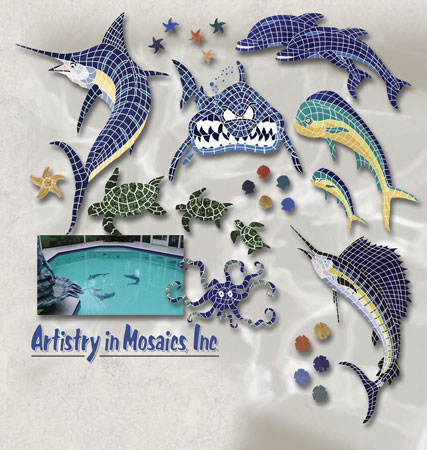 Decorative Pool Tile Mosaics Alligators Crabs Geckos
